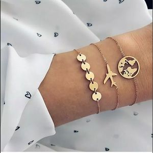 Beautiful 3 pc gold travel bracelets